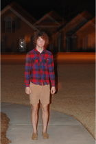 red 44mm shirt - brown American Eagle shorts - brown sperry shoes