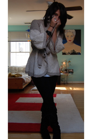 BCBG sweater - Hanes shirt - Marshalls tights - Minnetonka shoes