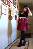 black from Ross shoes - black opaque Target tights - red Charlotte Russe skirt