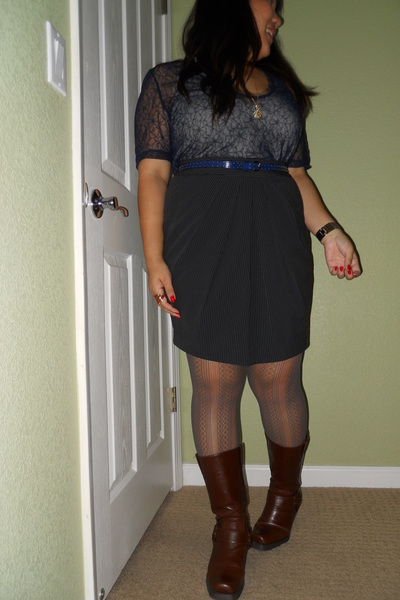 blue rodarte x target top - brown thrifted skirt - gray Nine West tights - brown
