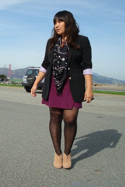 random dress - thrift town blazer - obey scarf - Urban Outfitters tights - Deena