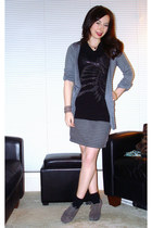 black Forever 21 top - charcoal gray Dynamite skirt - charcoal gray Urban Planet