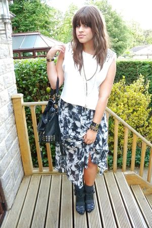 white Topshop top - Matalan dress - black Topshop shoes - black asos bag