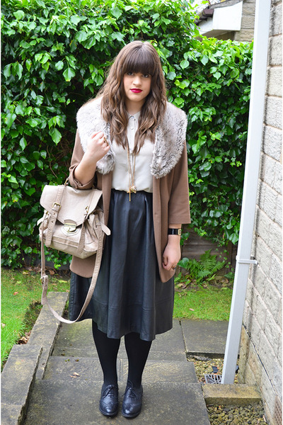 light brown Topshop coat - beige acne shirt
