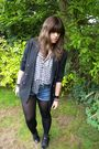 Black-vintage-blazer-gray-urban-outfitters-top-miss-selfridge-shorts-gray-