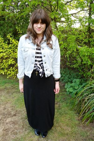 black asos dress - Topshop top - Topshop jacket - asos necklace