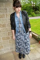 gray Dorothy Perkins dress - black River Island jacket - blue vintage jacket - g