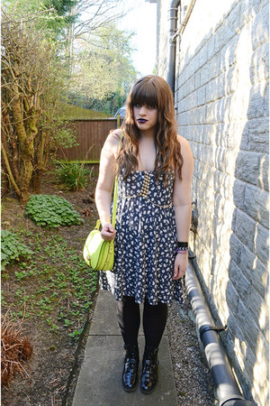 navy asoscom dress - black asoscom boots - yellow neon Aldo bag