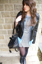 black River Island jacket - black Urban Outfitters boots - gray warehouse dress
