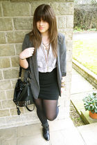 gray Miss Selfridge blazer - beige Topshop shirt - black M&S skirt - black asos