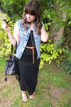 black Topshop dress - vintage jacket - Topshop belt - barratts shoes