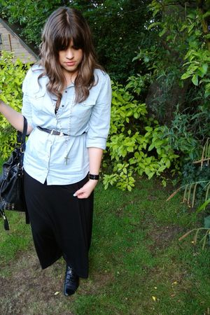 black new look dress - Topshop shirt - black asos purse - black Urban Outfitters