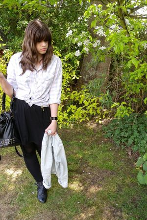 pink vintage shirt - Topshop jacket - black American Apparel skirt - black Urban