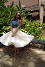 Blue-goodwill-top-off-white-h-m-skirt