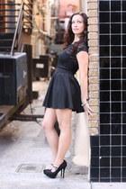 black Charlotte Russe shirt - black strapless Victorias Secret bra