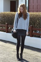 black leather Forever21 skirt - silver knit H&M sweater
