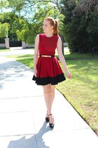 black metal details Ebay belt - ruby red flared Sugarlips dress