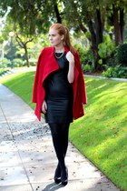 ruby red red Lulus coat - black leather Lulus dress