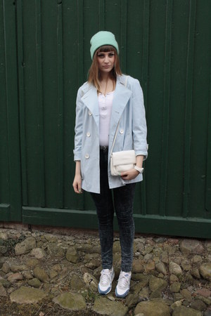 deep purple Primark jeans - sky blue Secondhand coat - aquamarine H&M hat