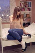 peach H&M blouse - blue H&M pants - dark green Jumex heels