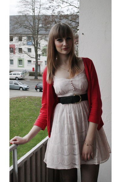 black H&M tights - light pink Primark dress - red H&M cardigan