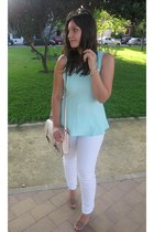 white Zara pants - cream xti bag - light blue Primark top