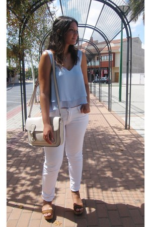 white Zara pants - cream xti bag - light blue Pull & Bear blouse