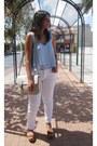 Cream-xti-bag-white-zara-pants-light-blue-pull-bear-blouse