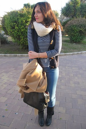 camel Zara coat - white Primark scarf - navy Primark vest - blue Zara pants