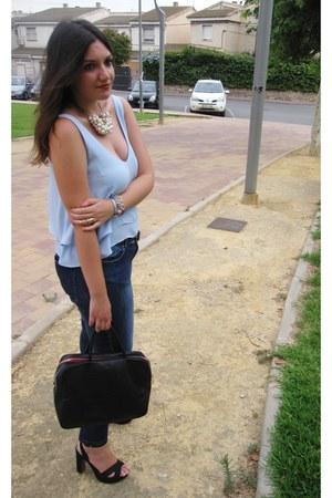 sky blue pull&bear blouse - navy Venca jeans - black fun&basics bag