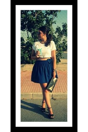 blue pull&bear skirt - black Stradivarius bag - brown Primark sunglasses
