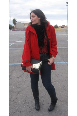 red Venca coat - black Mustang boots - black Stradivarius bag