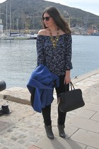 navy Stradivarius blouse - gray Mustang boots - blue Zara coat