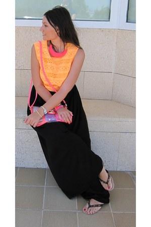 carrot orange Primark top - hot pink cc nueva condomina bag