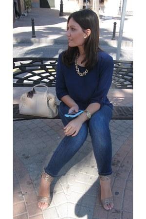 tan Primark bag - blue Venca jeans - brown Bershka sunglasses