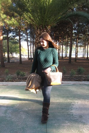 gold Parfois ring - bronze Zara coat - dark green Sfera sweater