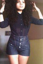 black blouse - black shorts