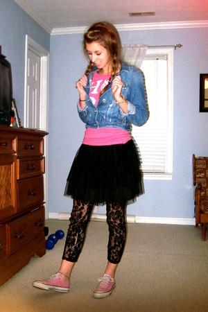 pink Converse shoes - black Target tights - black Target skirt - pink American E