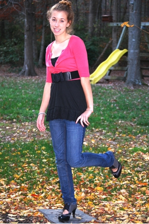 American Eagle top - Old Navy sweater - Charlotte Russe belt - PacSun jeans - sh