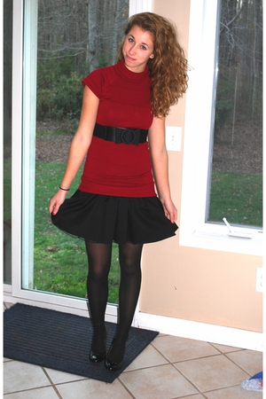 black kohls dress - red Target sweater - black charollete russe belt - black tig