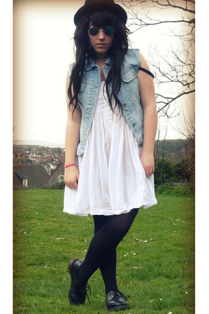 white unknown brand dress - blue unknown brand jacket - black Dr Martens shoes -