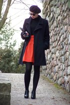 carrot orange Promod skirt - black H&M glasses - black New Yorker heels