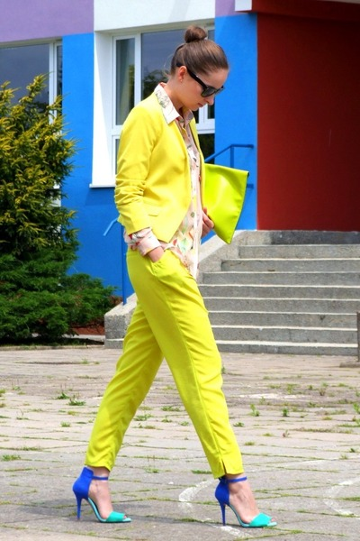 blue Zara sandals - yellow H&M blazer - nude H&M shirt - lime green allegro bag