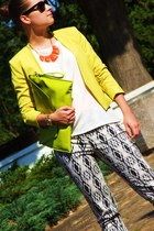 yellow H&M blazer - black H&M pants