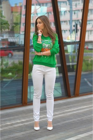 green Kenzo blouse - white F&amp;F pants