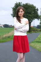 red DIY skirt - white Orsay blouse