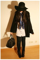 black Primark shoes - black BLANCO hat - white H&M shirt - navy Bershka scarf -