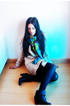 black Mustang shoes - black H&M dress - beige Primark coat - blue H&M scarf
