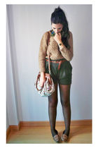 brown BLANCO tights - brown Zara shoes