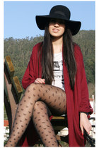 black BLANCO hat - black Primark tights - brick red Topshop cardigan